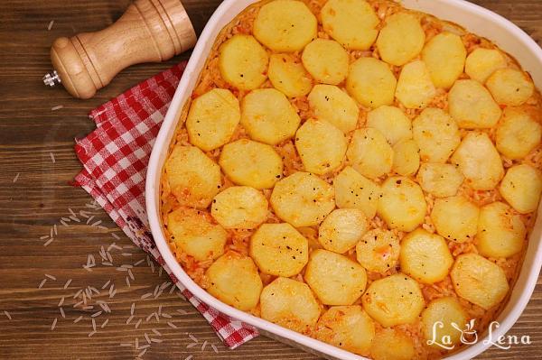 Pilaf taranesc cu cartofi  la cuptor, de post