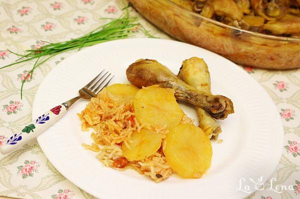 Pilaf taranesc la cuptor, cu cartofi si pui