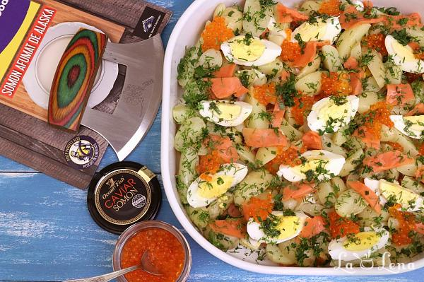 Salata de cartofi cu somon afumat
